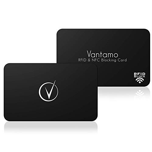 RFID Blocking Card, Wallet Shield Blocker with Free Recovery Service, No Work Credit Card Protector - No Sleeves needed Full NFC Wallet Protection 2pcs (Classy Black)