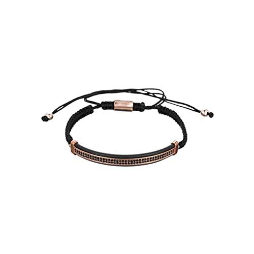 Hinleise Pulsera para hombre con cuentas de cobre trenzadas, pulsera ajustable, regalo de joyería para hombres y mujeres