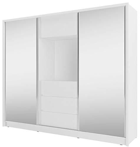 Furniture24 Schwebetürenschrank Tv 250, Kleiderschrank, Media Schrank, Schlafzimmerschrank mit Spiegel, Kleiderstange, 3 Schubladen und Tv Fach (Weiß)