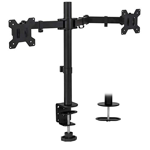 Mount-It! Dual Monitor Mount | Double Monitor Desk Stand | Two Heavy Duty Height Adjustable Arms Fit 2 Computer Screens 19 21.5 24 27 32 Inches | VESA 75 100 | Interchangeable C-Clamp and Grommet Base