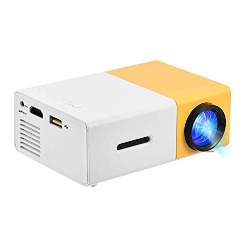 Mini Projector 1080P Film Resolution LED Multimedia Home Theater Projector HDMI, AV, USB Support for PS4 Laptop ipad iPhone Smartphone Game TV (White-Yellow)