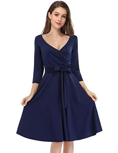 KOJOOIN Damen Vintage 50er V-Ausschnitt Abendkleid Rockabilly Retro Kleider Hepburn Stil Cocktailkleid Langarm Dunkelblau (Langarm) 【EU 46】/XL