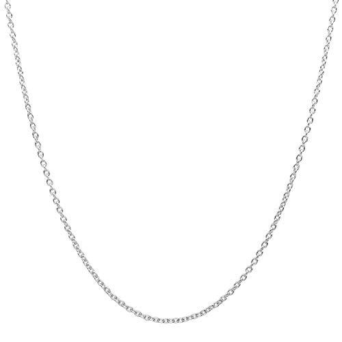 18 Karat / 750 Gold Rund Ankerkette Weißgold Kette - Breite 1 mm - Länge Wählbar (40 CM)