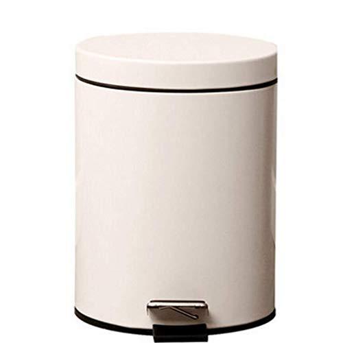 RFJJAL Abfallbehälter 5L Langsam Mute Runde Basketball Papierkorb Reinigen Weiß Elfenbein Kleine Und Unoccupied Aufbewahrungsbehälter, Langsamer, Quieter Deckel, Opak Geschmack