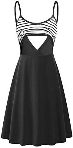Larenba Breastfeeding Dresses Latched Mama Sleeveless Adjustable Strappy Summer Solid Flared product image