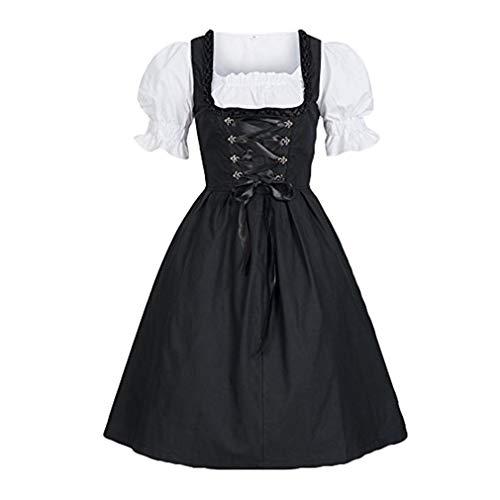 Mxssi Damen Dirndl Set - Traditionelle Kurzarm Trachtenkleid Dirndlbluse Kostüme für Oktoberfest Karneval Halloween Kleid Trachtenkleid Kostüme