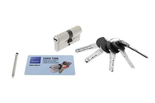 Tesa Assa Abloy, MX803030N, Cilindro de seguridad TX80, Leva corta, 30X30 mm, Niquelado