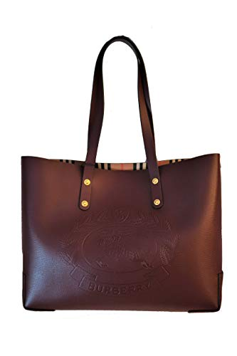 Burberry Embossed Crest Leather Tote Bag