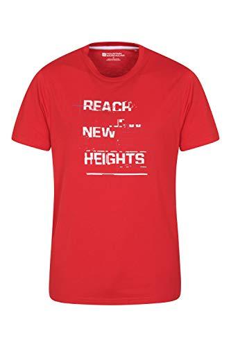Mountain Warehouse Tee-Shirt Tri Linear pour Homme - T-Shirt léger et Confortable - Tee-Shirt Facile d'Entretien - Idéal pour Les Voyages, la randonnée et Le Plein air Rouge 3XL