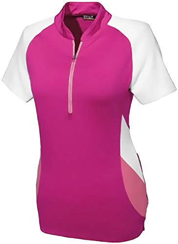 CRIVIT® Damen Fahrradshirt, Kurzarm, TOPCOOL Funktionsfaser (Gr. M 40/42, pink/weiß)