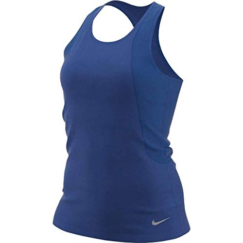 NIKE W Nk Run Tank Camiseta, Mujer, Multicolor (Indigo Force/Reflective silv), L