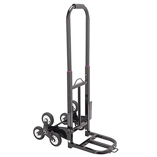 Aluminio Carretilla De Mano Escalada,Plegable Carretilla 6 Ruedas Carrito Plegable Todo Terreno Ligero Carretilla Silencioso Neumáticos Grandes,Equipaje En Movimiento Al Aire Lib-Negro Un