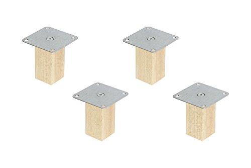 4er Set Möbelfüße Möbelbeine für IKEA Ivar Schrank Holzfüße aus Massivholz Buche mit Montageplatte & Schrauben Ausführung Kvadrat 10 cm