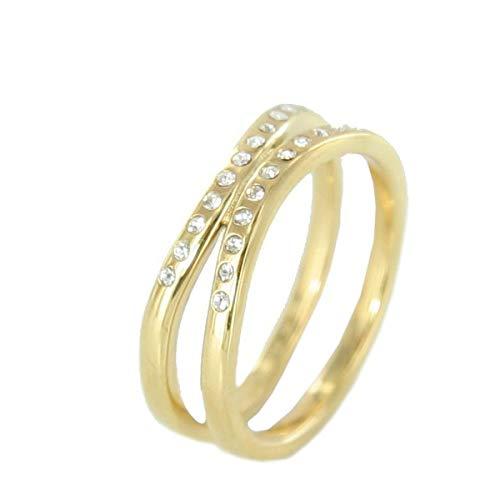 Skagen Designs UK Charlotte Damen-Ring Edelstahl gelb vergoldet Ip JRSG027S Creolen mit Kristallen
