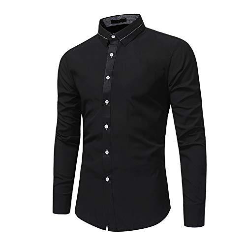 Herren Hemd Slim Fit Langarm Shirt Freizeit Business Hochzeit Party Hemd Atmungsaktiv...