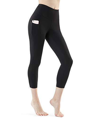 TSLA High Waist Yoga Pants with Pockets, Tummy Control Yoga Leggings, Non See-Through 4 Way Stretch Workout Running Tights, Capri Aerisoft(fyc64) - Black, Small