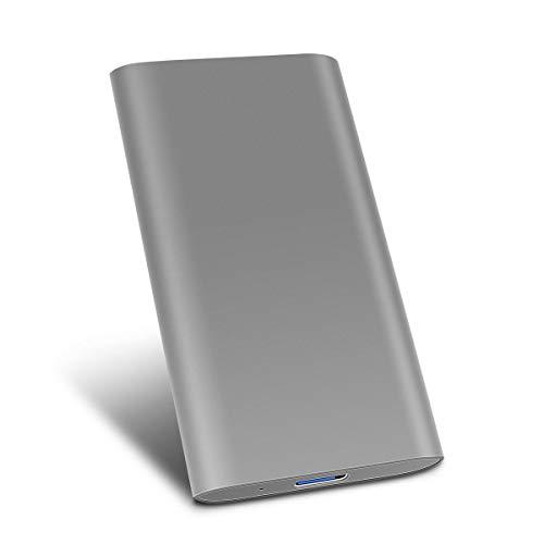 Hard Disk Esterno 2tb Type C USB3.1 Hard Disk Esterno per PC, Mac, Desktop, Laptop, MacBook, Chromebook (1tb, Grigio)
