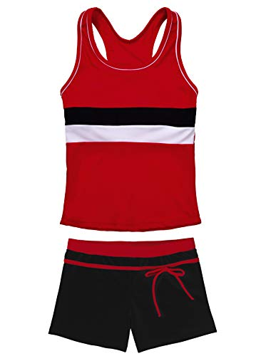 JerrisApparel Little Girls' Summer Two Piece Boyshort Tankini Kids Swimsuit (10-11/Tag Size 3XL, Red)