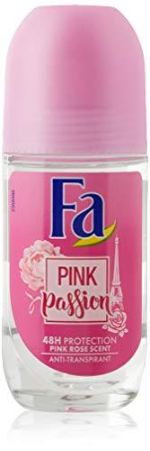 Fa - Desodorante Roll-On Pink Passion Anti-Transpirante Suave con la piel - 4 uds de 50 ml