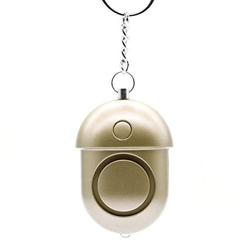 Alarma Personal Seguridad Sound Emergencia Auto-Defensa Alarma antirrobo Llavero LED Linterna LED para niñas y niñas 1pcs-Golden