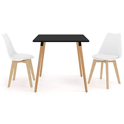 vidaXL Juego de Comedor 3 Piezas Muebles Restaurante Hogar Moderno Terraza Cocina Interior Mesa Silla Asiento Suave con Respaldo Blanco