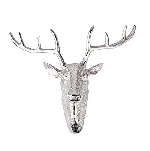 Hirschgeweih Geweih Hirsch Hirschkopf - Wand Wanddekoration Silber Aluminium Deko Dekoration - Moderne Wanddeko aus Metall - Loft, Wohnzimmer, Küche, Schlafzimmer, Flur - 45 cm XXL