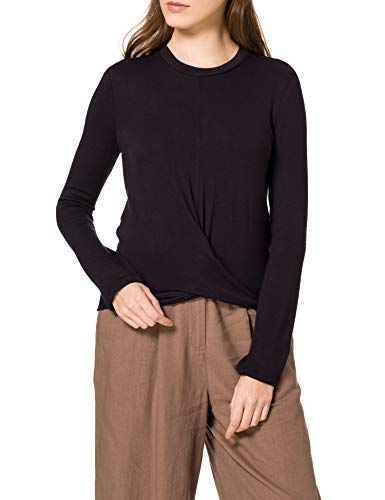 Marca Amazon - find. Camiseta de Manga Larga y Cuello Redondo Mujer, Negro (Black), 36, Label: XS