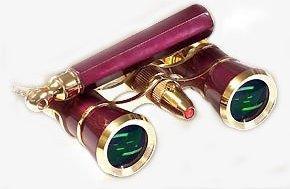 Lascala Optics Lolanta Opera Glasses, Lorgnette and Flashlight, Burugundu Body, Golden Rings