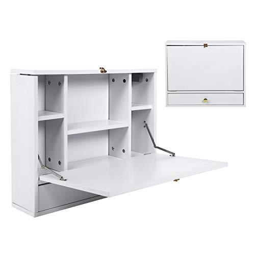GOTOTOP Mesa Plegable de Pared para Ordenador, Escritorio Colgante abatible con Compartimientos y Cajón para Hogar