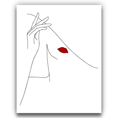 Abstract Fashion Hat Tip | Woman One Line Silhouette with Red Lips - 11x14 UNFRAMED Black and White Art Print of Nordic Modern Contemporary Female Form Line Drawing Wall Decor