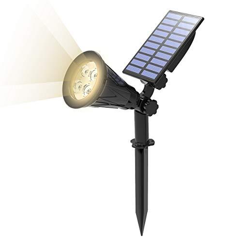 T-SUN Luci Solari da Esterno, Lampade Solari da Giardino Wireless con 4 LED 200LM, Bianco Naturale 4000K, Impermeabile Lampioni da Sicurezza Solari.