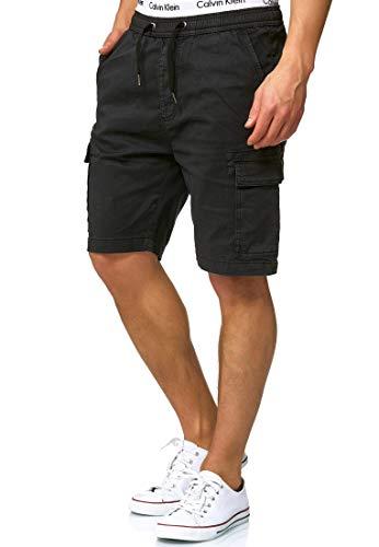 Indicode Herren Kinnaird Chino Cargo Shorts mit 6 Taschen aus 98% Baumwolle | Kurze Stretch Hose Regular Fit Bermuda Herrenshorts Men Short Pants Chinohose Cargohose für Männer Black S