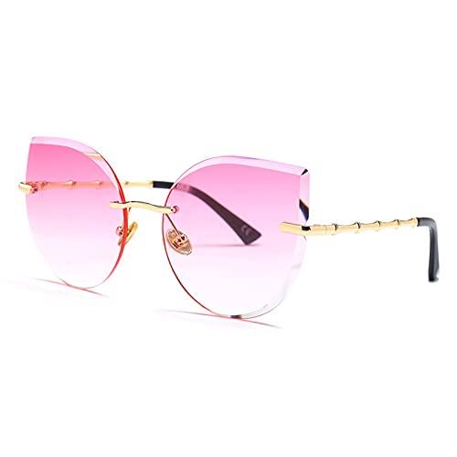 PPLAX Gafas de Sol Gafas de Gato Gafas de Sol sin Llantas de Sol Femenina de Metal marrón Rosa Femenino (Lenses Color : C6)