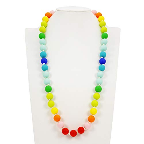 Teething Necklace Breastfeeding Nursing Necklace for Mum to Wear Baby BPA Free Silicone Beads Babies teethers Sensory chewlery for Kids