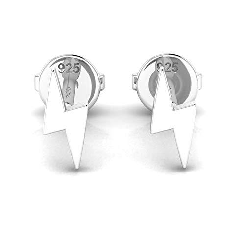 Orecchini da donna a forma di fulmine, in argento Sterling 925, in confezione regalo, 6 mm e Argento, colore: Argento, cod. SL