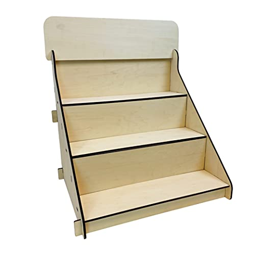 Wooden Portable Retail Table Display Stand Countertop 3 Step Riser Craft Shows, Farmers Markets Tradeshows |No Hardware Assembly Flat Pack Soap Display CBD Jewelry Spices Cups Tumblers Coasters