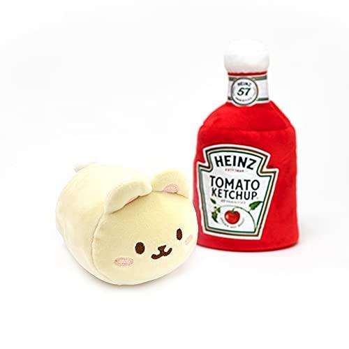 Anirollz x Heinz Bunny Plush with Tomato Ketchup Toy Blanket Small 6' Bunniroll