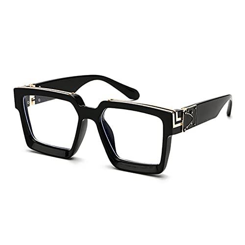 UKKD Gafas De Sol Moda De Lujo De Gran Tamaño De Gafas De Sol Cuadradas para Mujeres Escudo Fresco En Gafas De Sol para Mujer-Black Clear