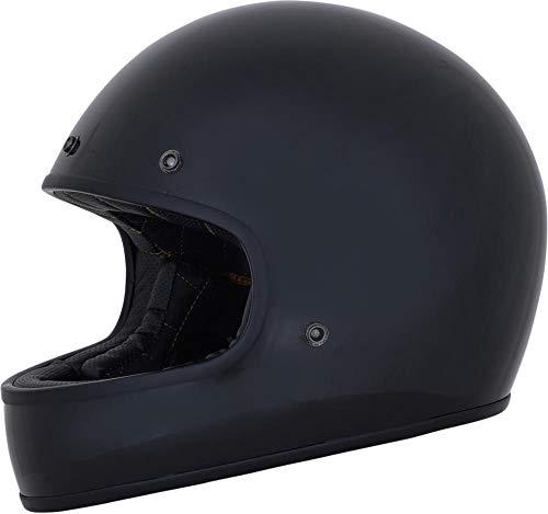 AFX Vintage Integralhelm Retro Classic Cafe Racer Low Profile Motorrad Helm (glänzend schwarz, XL)