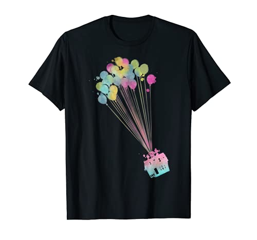 Disney Pixar Up Water Color House Balloons Graphic T-Shirt T-Shirt