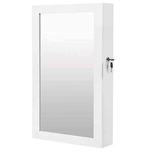 SONGMICS Lockable Jewelry Cabinet Armoire with Mirror, christmas gifts for women, Wall-Mounted Space Saving Jewelry Storage Organizer, White UJJC51WT