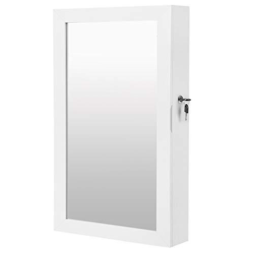 SONGMICS Lockable Jewelry Cabinet Armoire with Mirror WallMounted Space Saving Jewelry Storage Organizer White UJJC51WT
