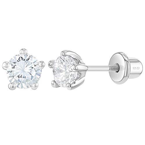In Season Jewelry - Baby Mädchen - Schraubverschluss Ohrringe Kinder Krappe Set Klar 925 Sterling Silber CZ Zirkonia 4mm