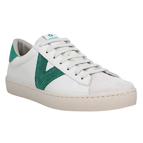 Victoria 1126142-WOMEN Berlin - Zapatillas deportivas (piel, bajas), (Blanco y verde), 39 EU