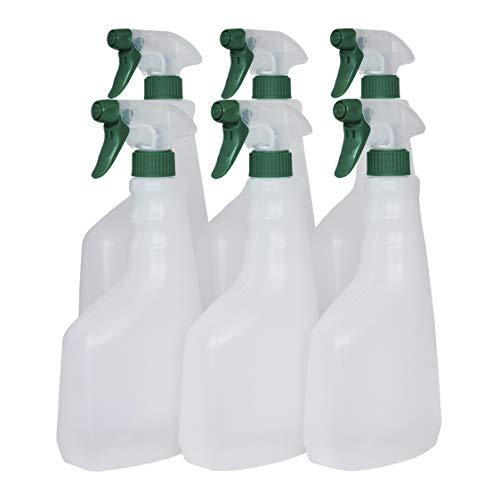 Super Net Cali Botella pulverizador vaporizador de plástico. 750 ml. Spray rellenable para jardín, Limpieza, Industria, hogar y Profesional. Resistente Productos químicos. (6 Unidades, Traslúcido)
