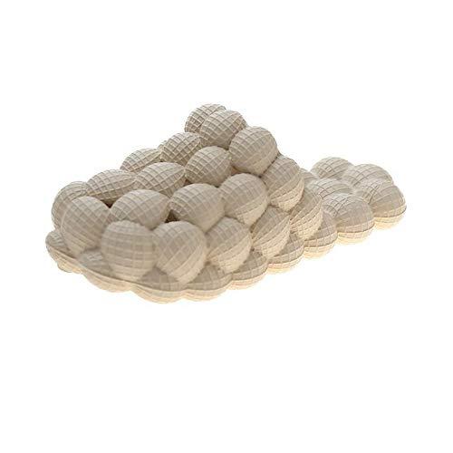 WENHUA Zapatos de Ducha, Sandalia Tipo Chancla Verano para SPA Ducha, Masaje de Verano Hueco sandwicover-Beige_38