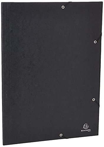Exacompta - Réf. 59502E - Chemise à élastiques 3 rabats carte lustrée 600gm² - A3 - noir