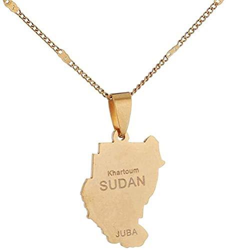 FACAIBA Collar de Acero Inoxidable Antiguo Sudán Collares Pendientes Color Dorado Mapa de Sudán Juba Charm Chain Jewelry