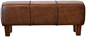 Pemberly Row Serena Mid Century Modern Furniture Brown Tan Genuine Leather Bench