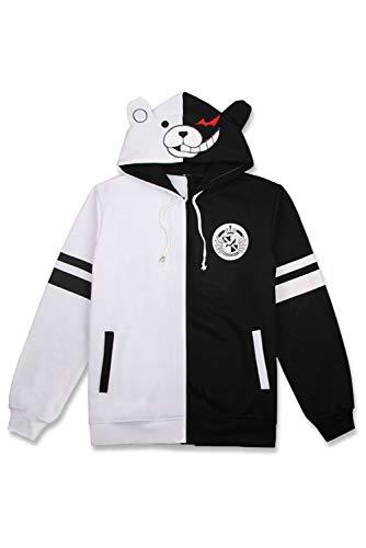 Monokuma Hoodie with Ears Black White Bear Jacket Pullover Sweatshirt Anime Cosplay Costume Outfit Unisex (Black, Small)